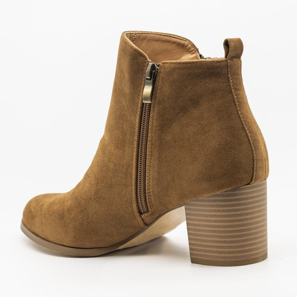 Womens Chic Classic Zipper Booties - AMS Shoes
