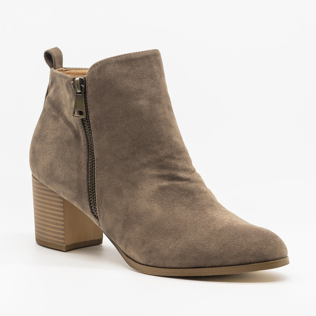 Womens Chic Classic Zipper Booties - AMS Shoes - Dark Gray / 5