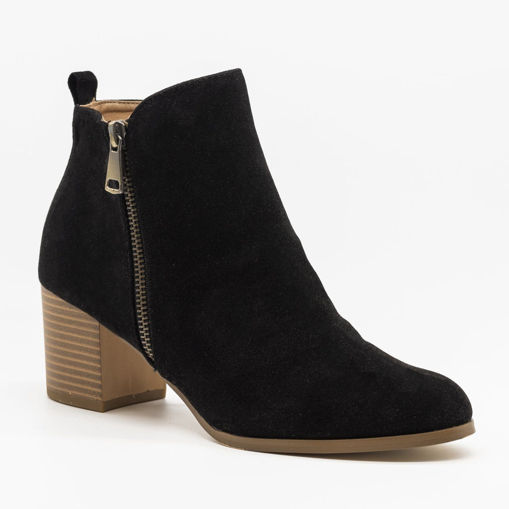 Womens Chic Classic Zipper Booties - AMS Shoes - Black / 5