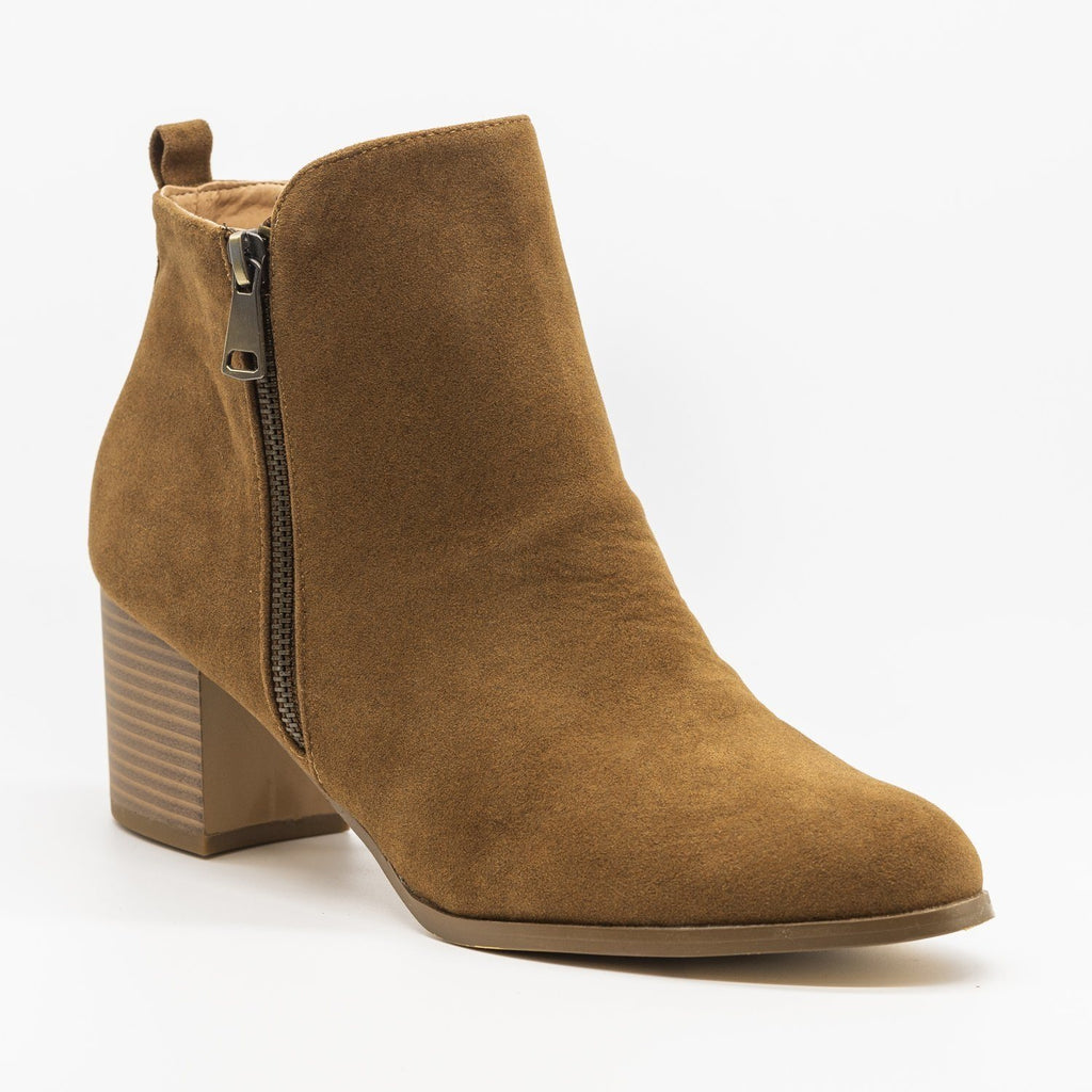 Womens Chic Classic Zipper Booties - AMS Shoes - Tan / 5