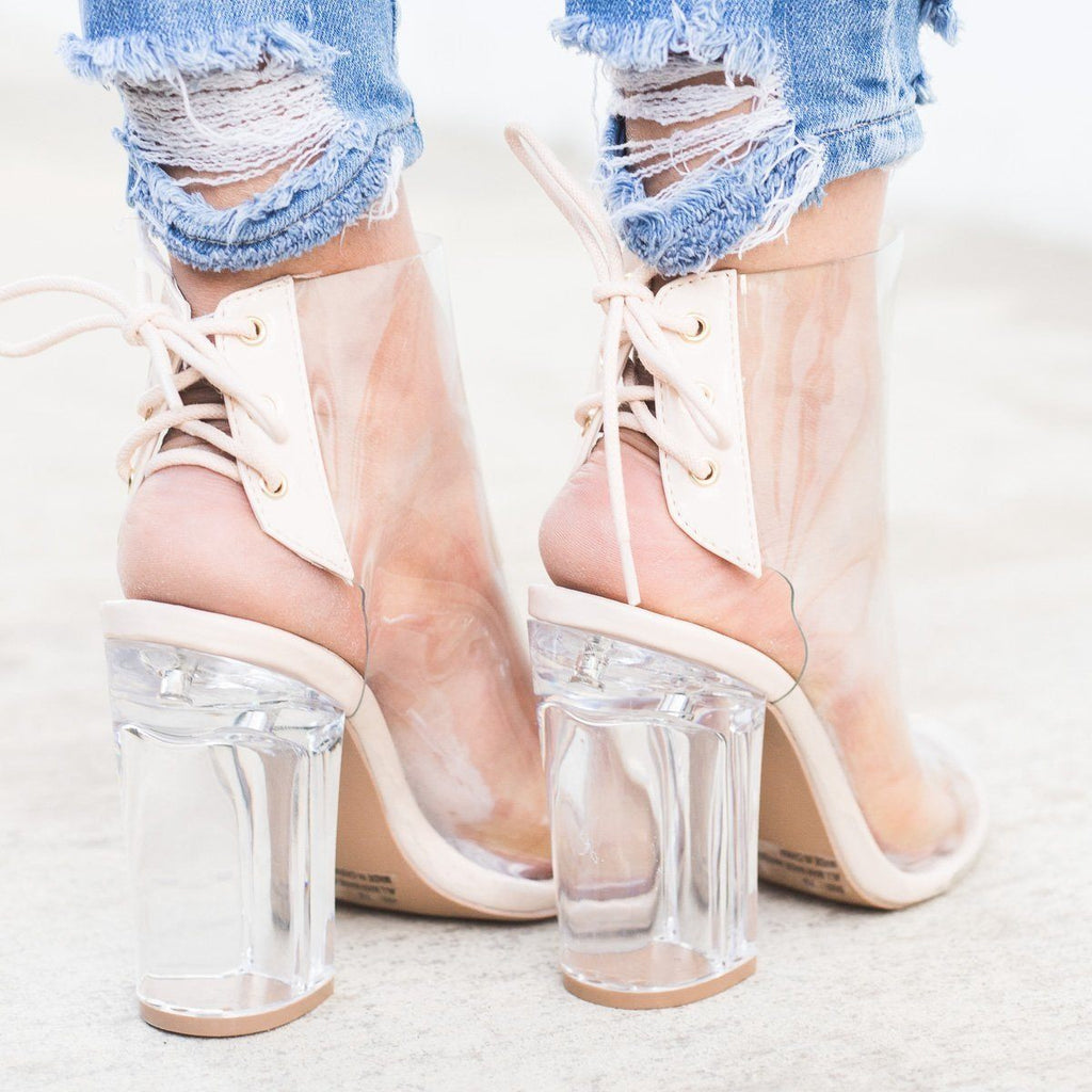 Womens Chic Clear Heel Lace-up Booties - Qupid Shoes
