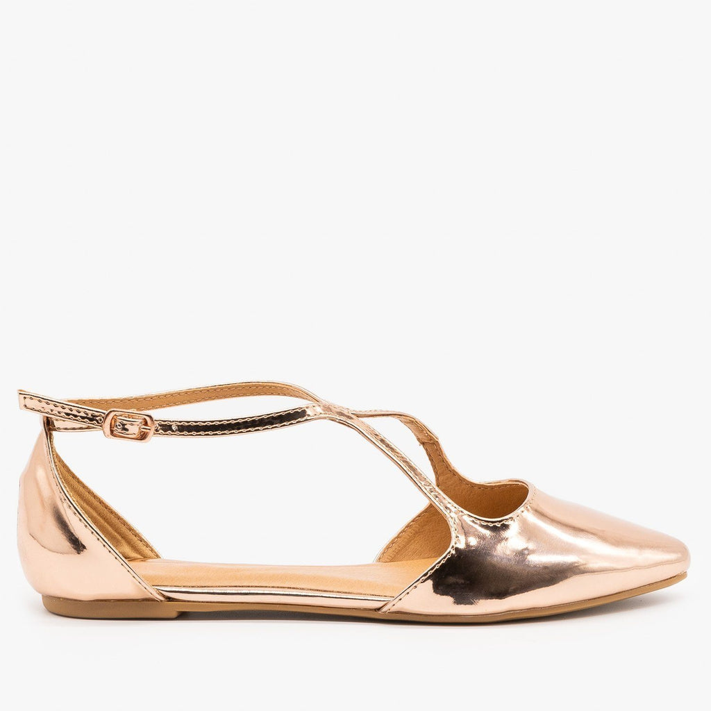 Womens Chic Criss Cross Ballet Flats - Bamboo Shoes - Rose Gold / 5