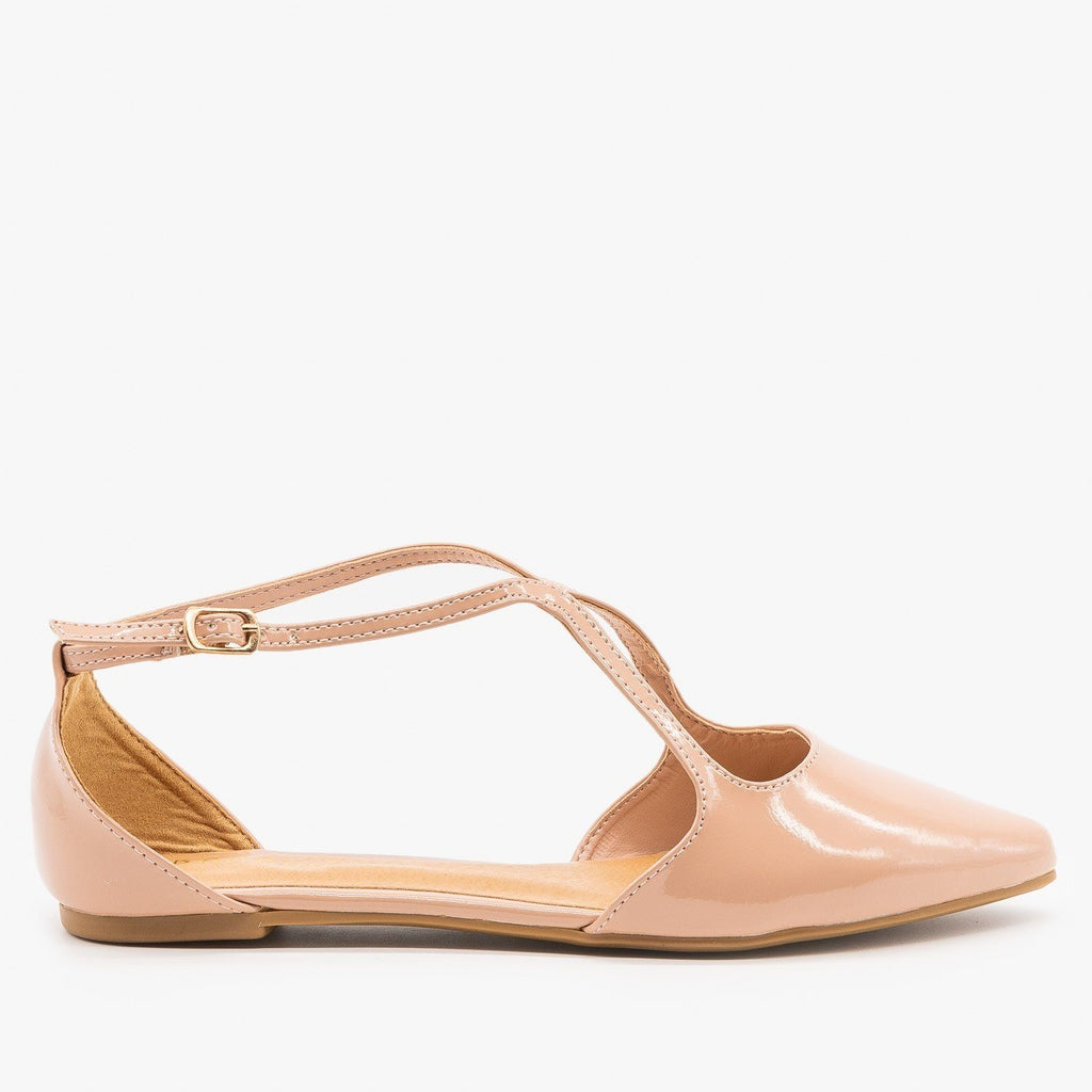 Womens Chic Criss Cross Ballet Flats - Bamboo Shoes - Nude / 5