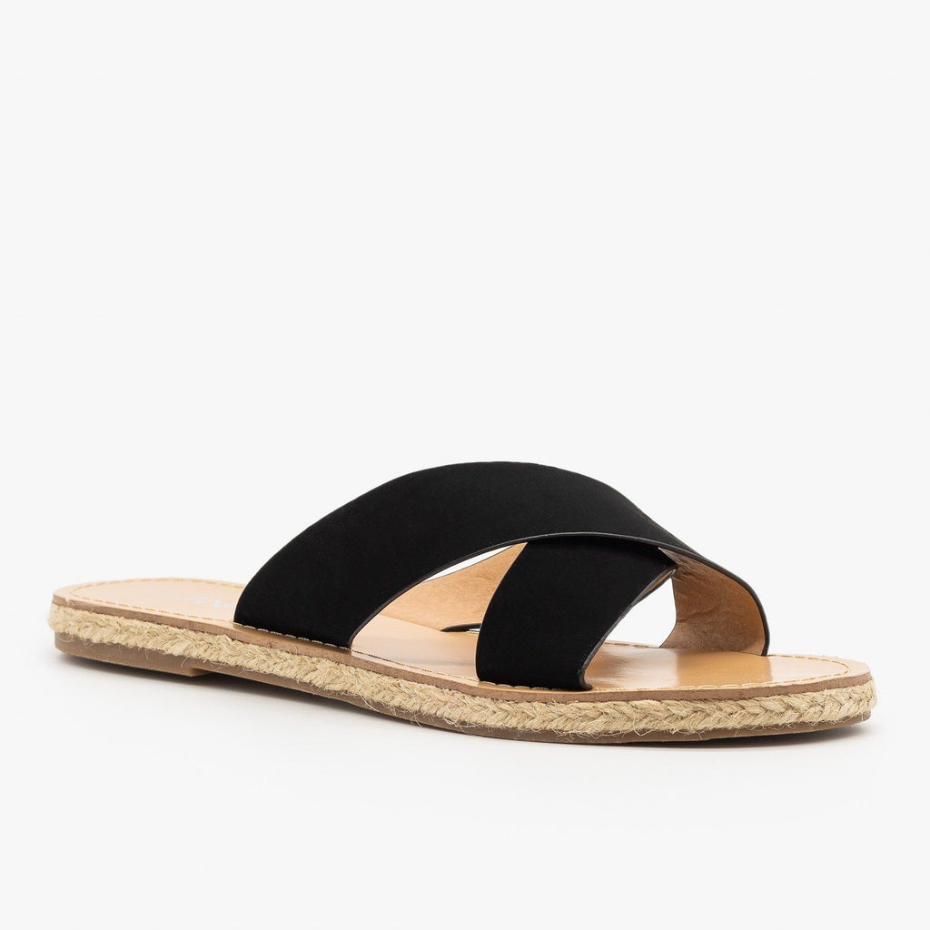Womens Chic Criss Cross Espadrille Slides - Anna Shoes - Black / 6
