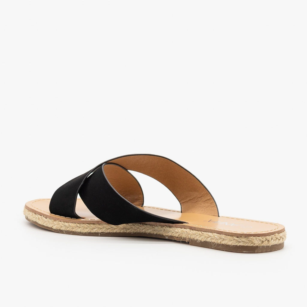 Womens Chic Criss Cross Espadrille Slides - Anna Shoes