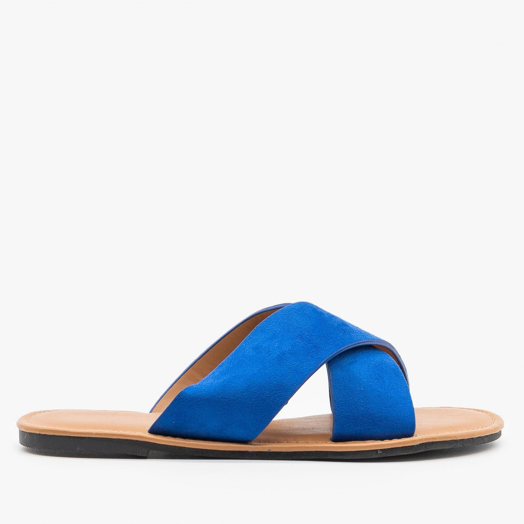 Womens Chic Crossover Sandals - Top Moda - Electric Blue / 5