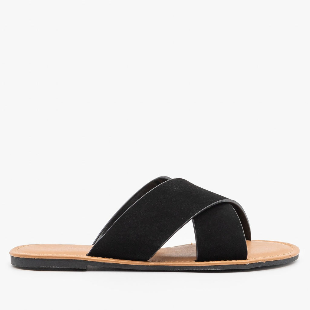 Womens Chic Crossover Sandals - Top Moda - Black / 5