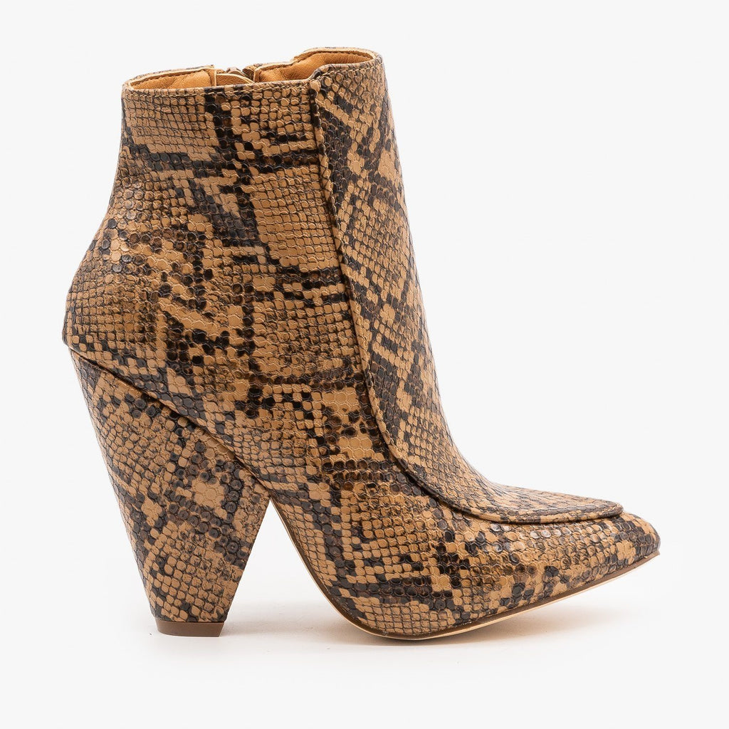 Womens Chic Day to Night Booties - Mata - Brown Snake / 5