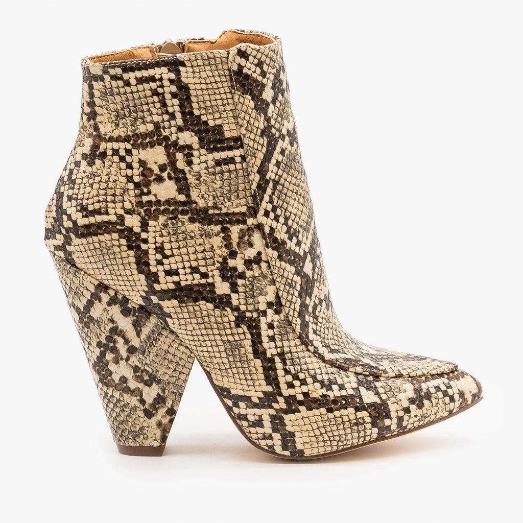 Womens Chic Day to Night Booties - Mata - Coffee Snake / 5