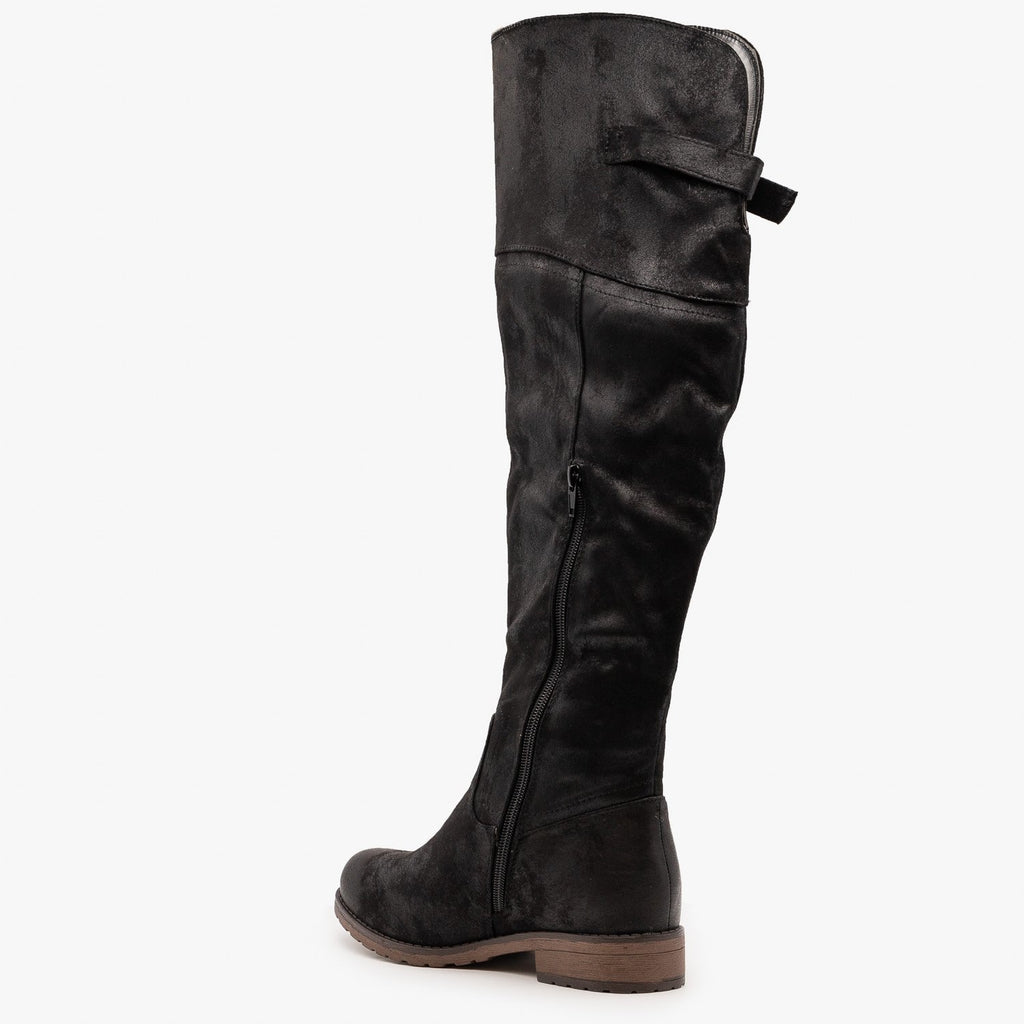 Womens Chic Distressed Knee-High Boots - Mata
