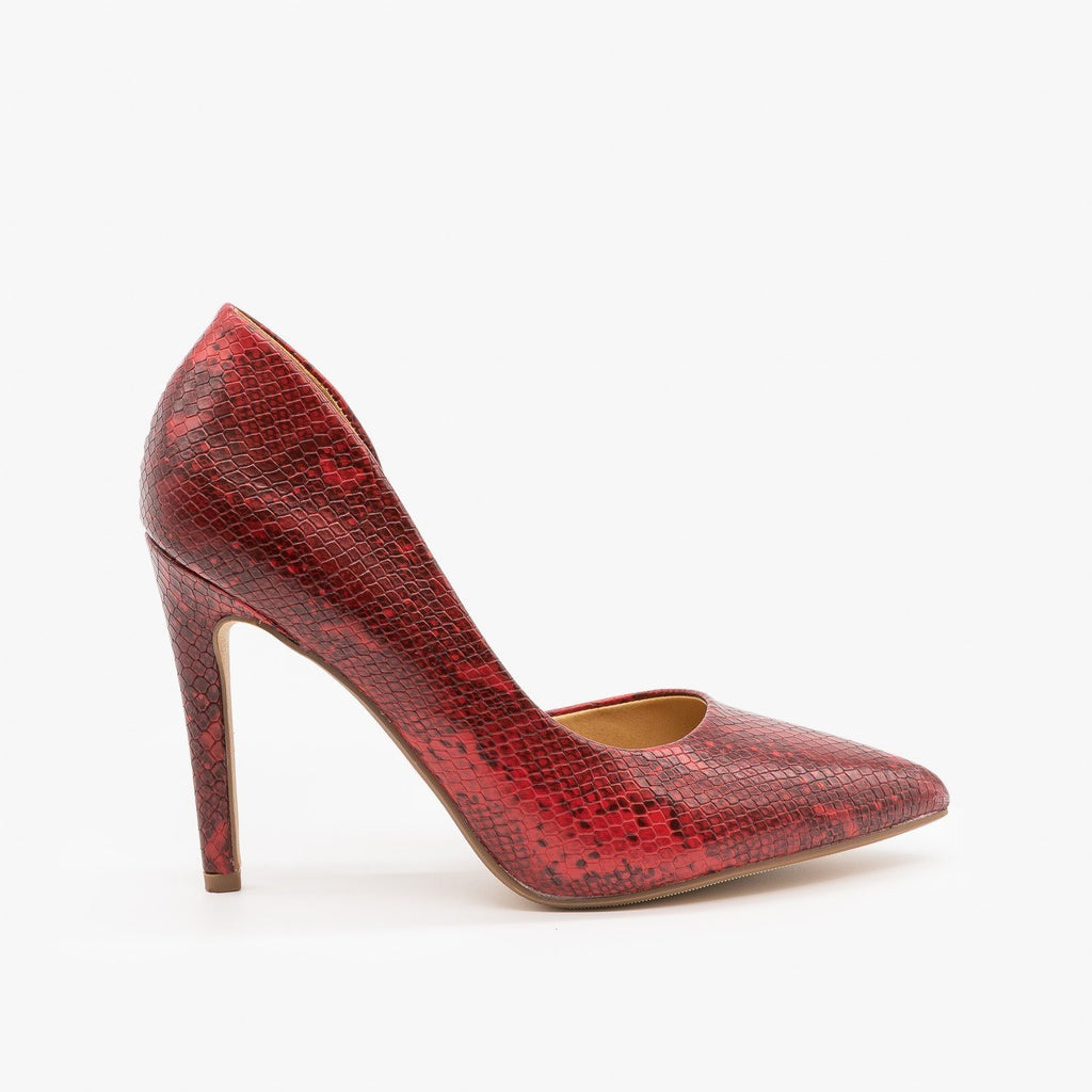 Womens Chic DOrsay High Heels - de - Cherry Snake / 5