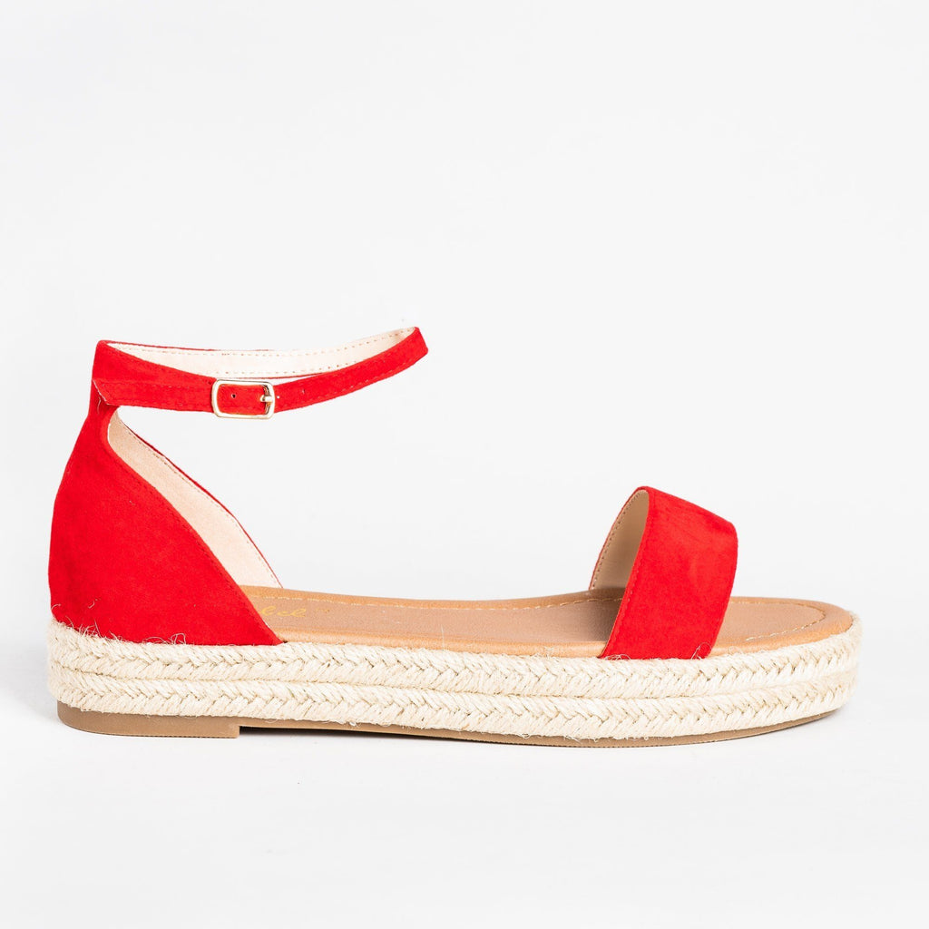 Womens Chic Espadrille Sandals - Bonnibel - Red / 5