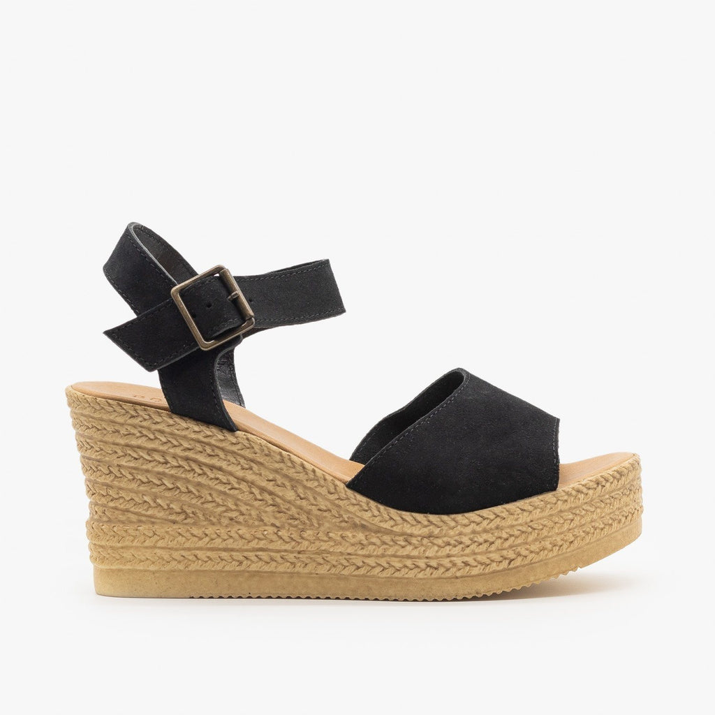 Womens Chic Espadrille Wedge Sandals - Bamboo Shoes - Black / 5