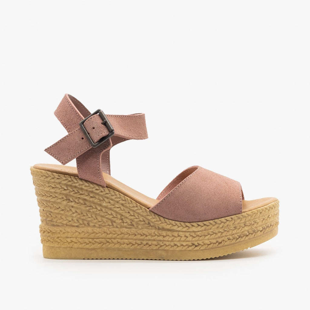 Womens Chic Espadrille Wedge Sandals - Bamboo Shoes - Mauve / 5