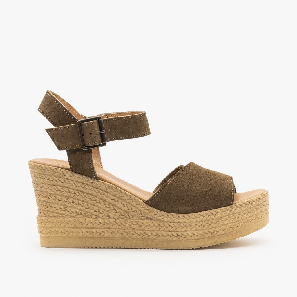 Womens Chic Espadrille Wedge Sandals - Bamboo Shoes - Olive / 5