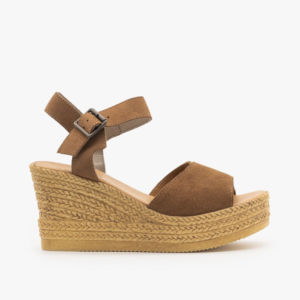 Womens Chic Espadrille Wedge Sandals - Bamboo Shoes - Camel / 5