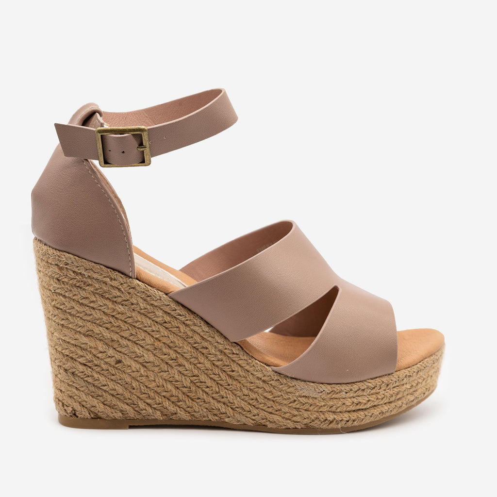 Women's Chic Espadrille Wedge Sandals - Refresh - Taupe / 5