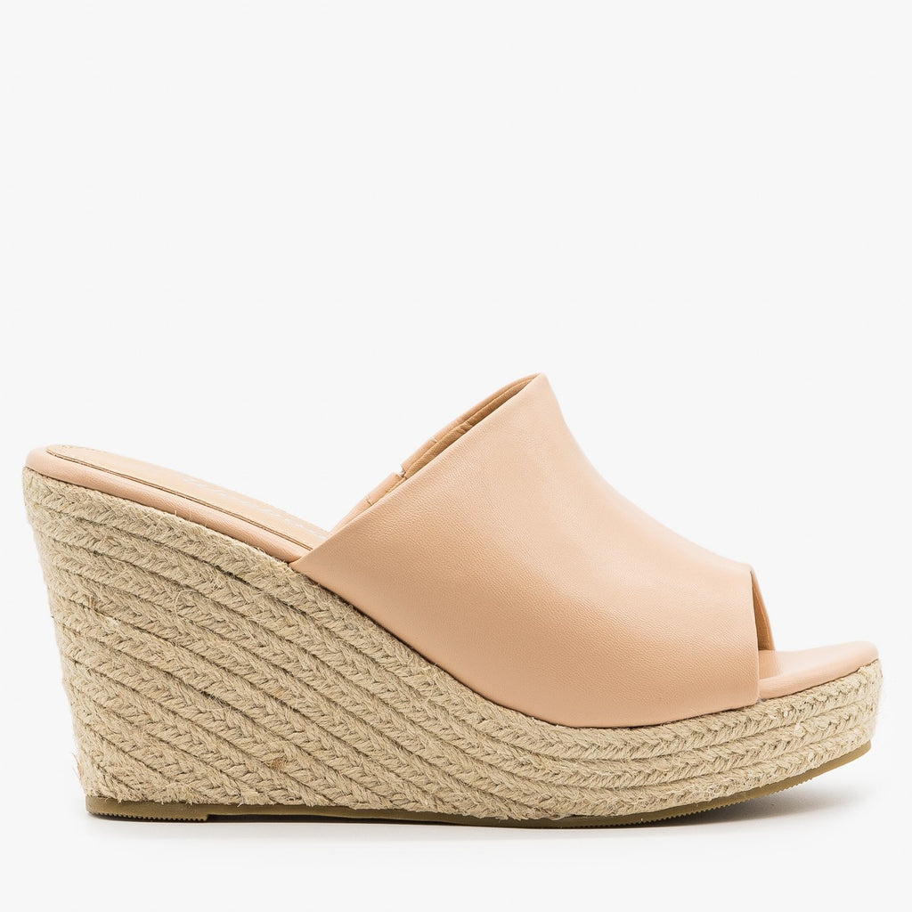 Womens Chic Espadrille Wedges - Weeboo - Nude / 5