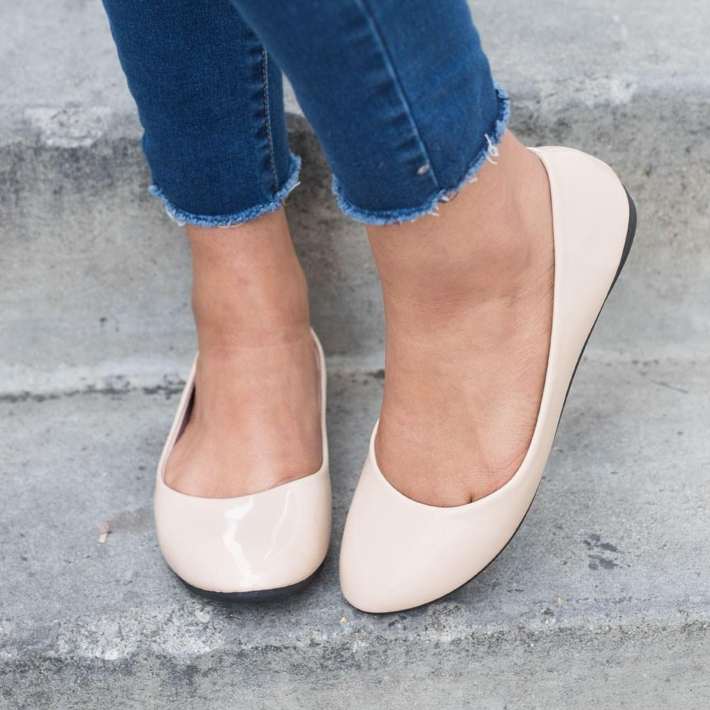 Womens Chic Everyday Ballet Flats - Forever - Beige / 5