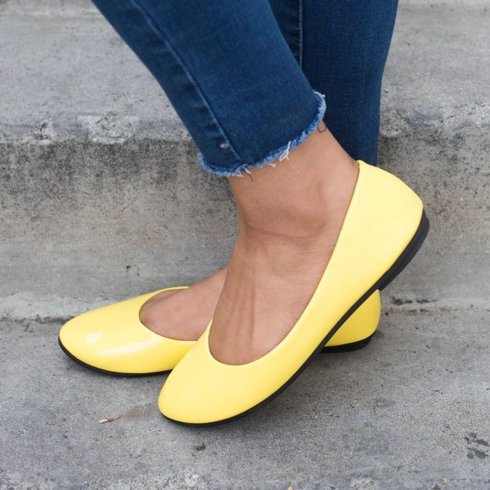 Womens Chic Everyday Ballet Flats - Forever - Yellow / 5