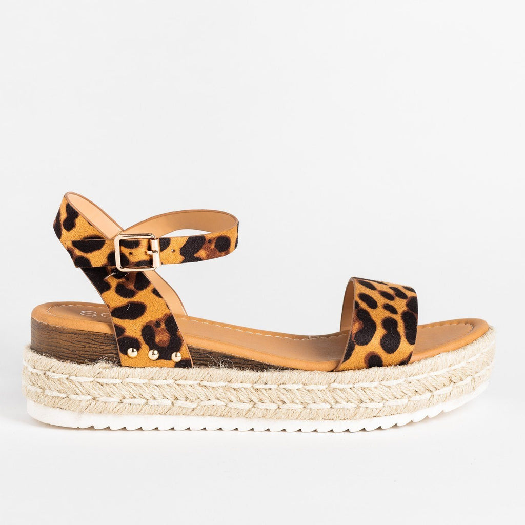 Womens Chic Everyday Espadrille Sandal Wedges - Soho Girls - Leopard / 5