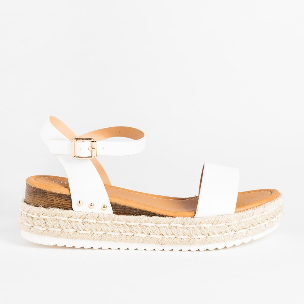 Womens Chic Everyday Espadrille Sandal Wedges - Soho Girls - White / 5
