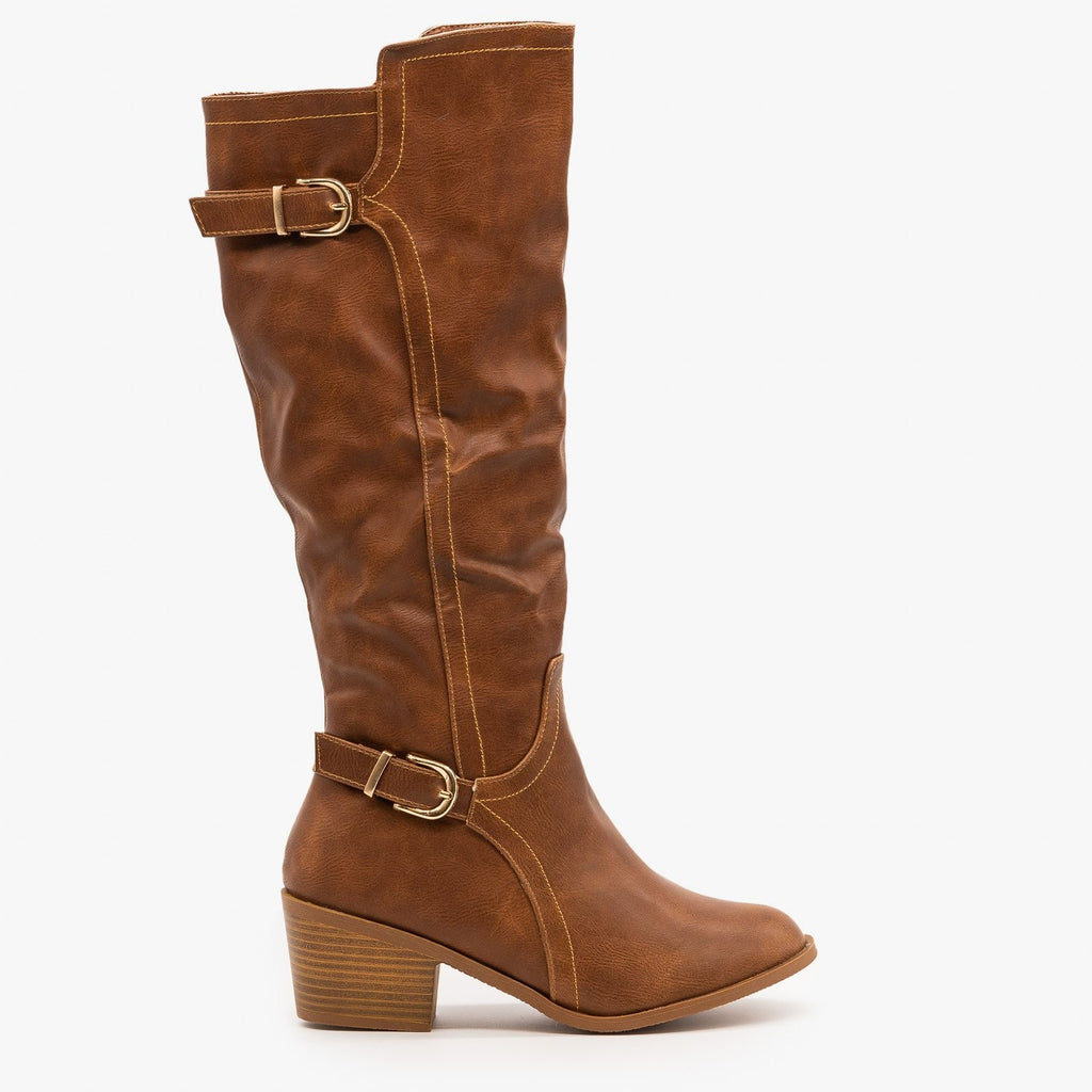 Womens Chic Fall Riding Boots - Fashion Focus - Cognac / 5