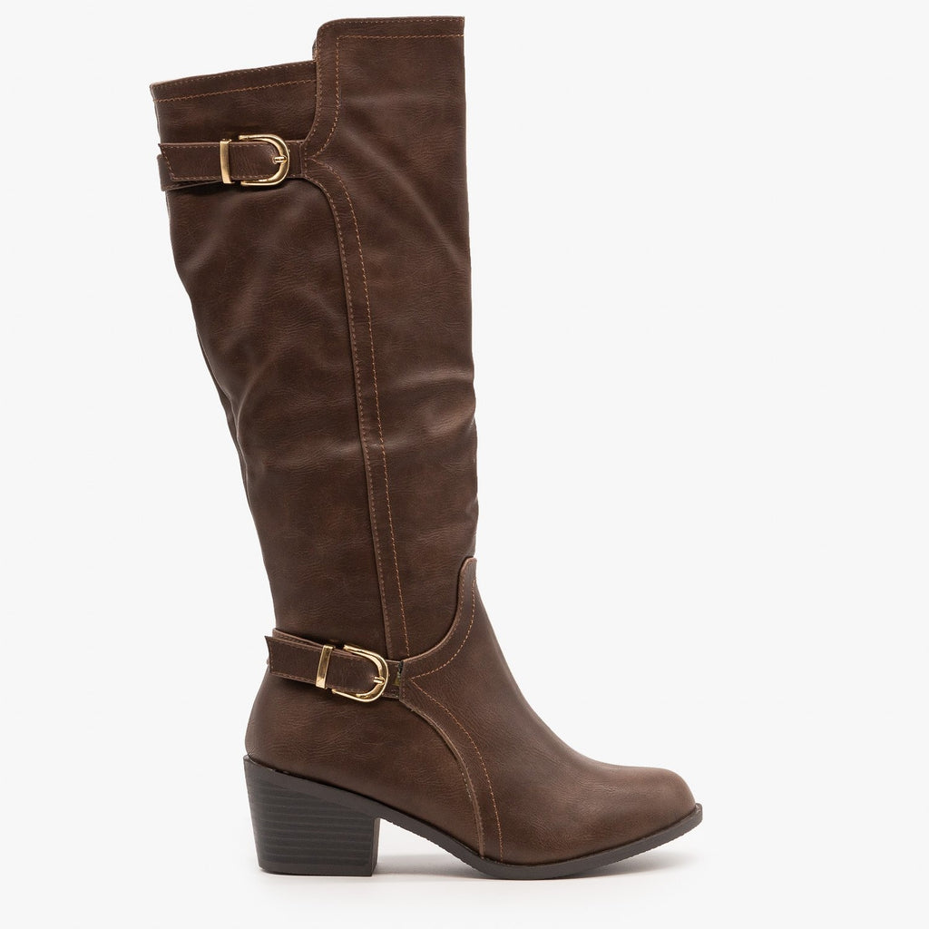 Womens Chic Fall Riding Boots - Fashion Focus - Brown / 5
