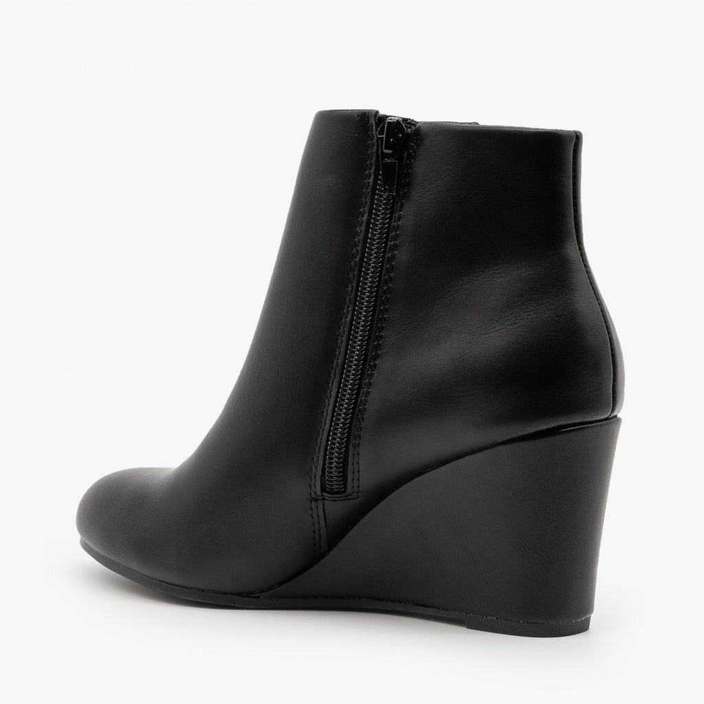 Womens Chic Faux Leather Wedge Ankle Booties - Delicious Shoes