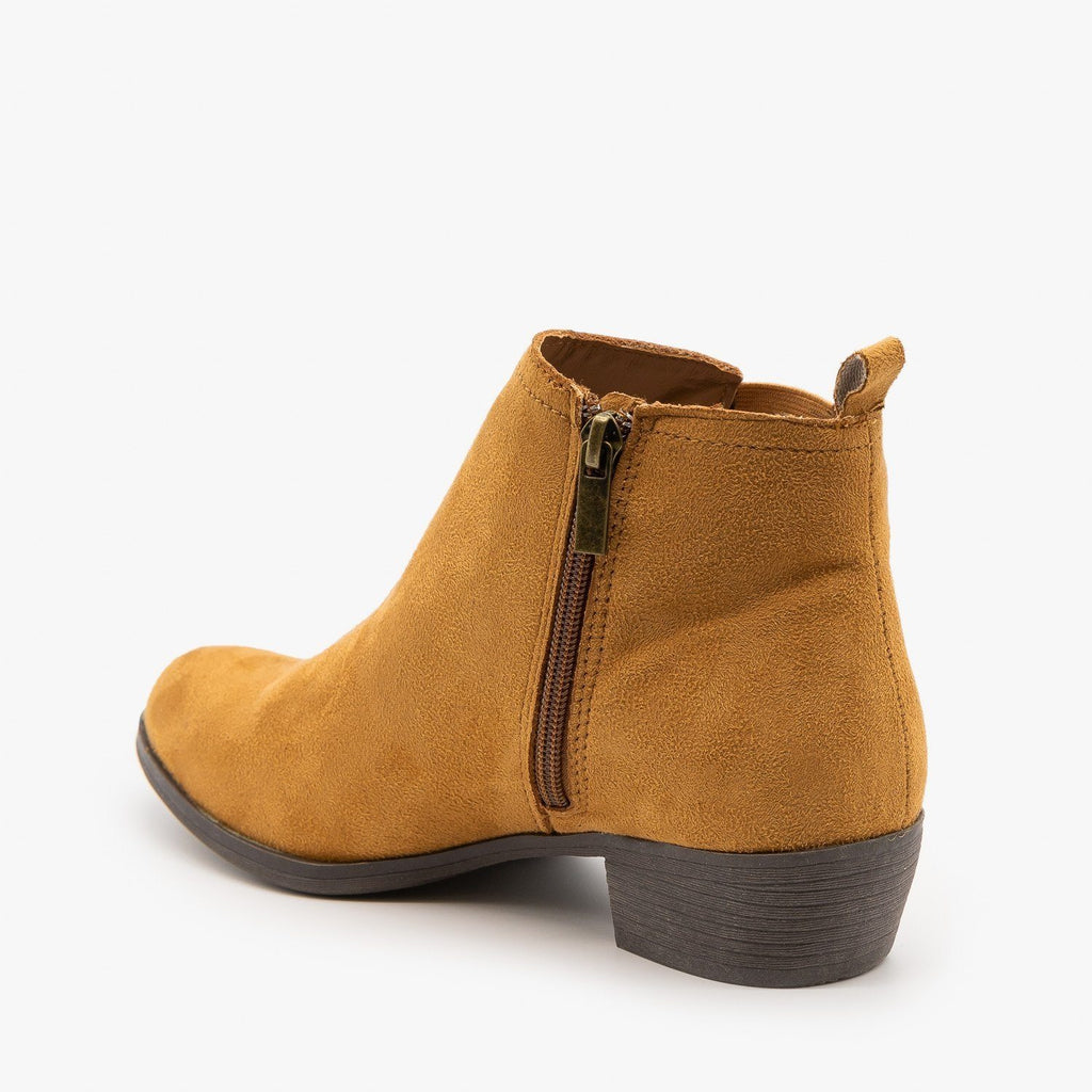 Womens Chic Faux Suede Booties - Bamboo Shoes