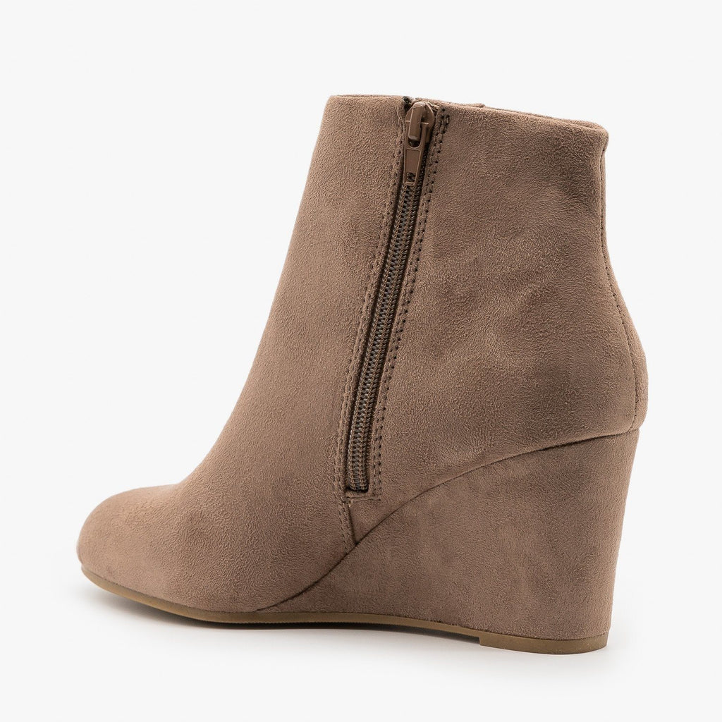 Womens Chic Faux Suede Wedge Ankle Booties - Delicious Shoes