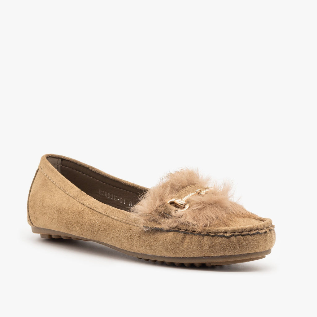 Womens Chic Furry Moccasin Flats - Refresh