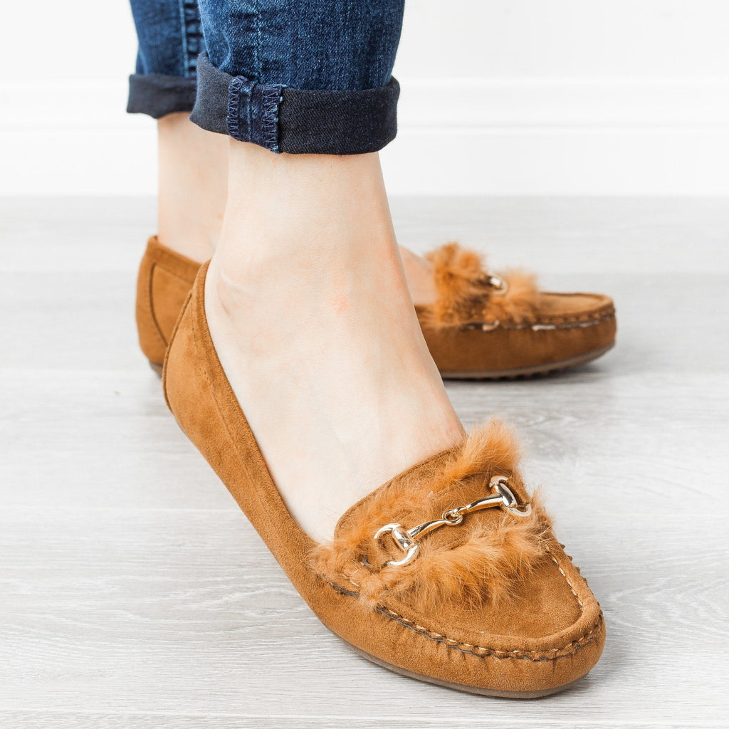 Womens Chic Furry Moccasin Flats - Refresh - Tan / 5