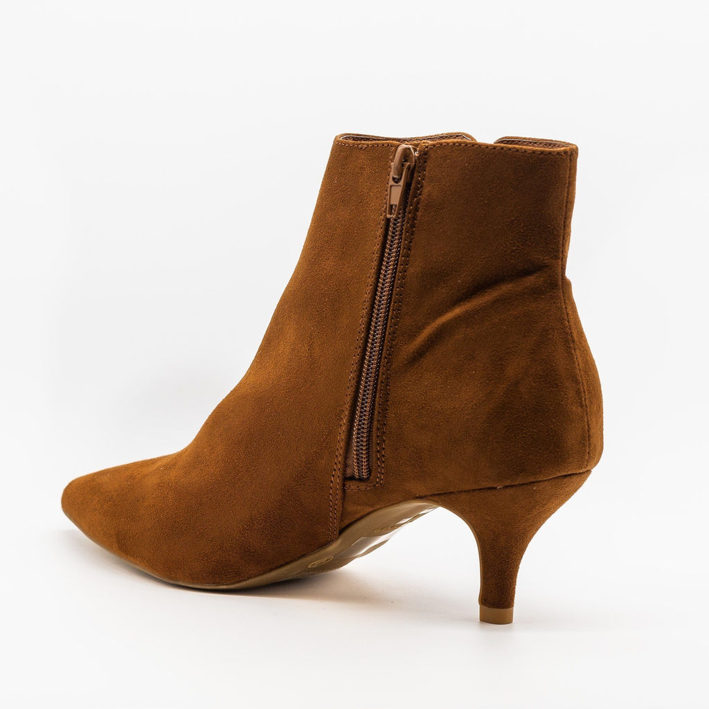 Womens Chic Kitten Heel Booties - Bamboo Shoes