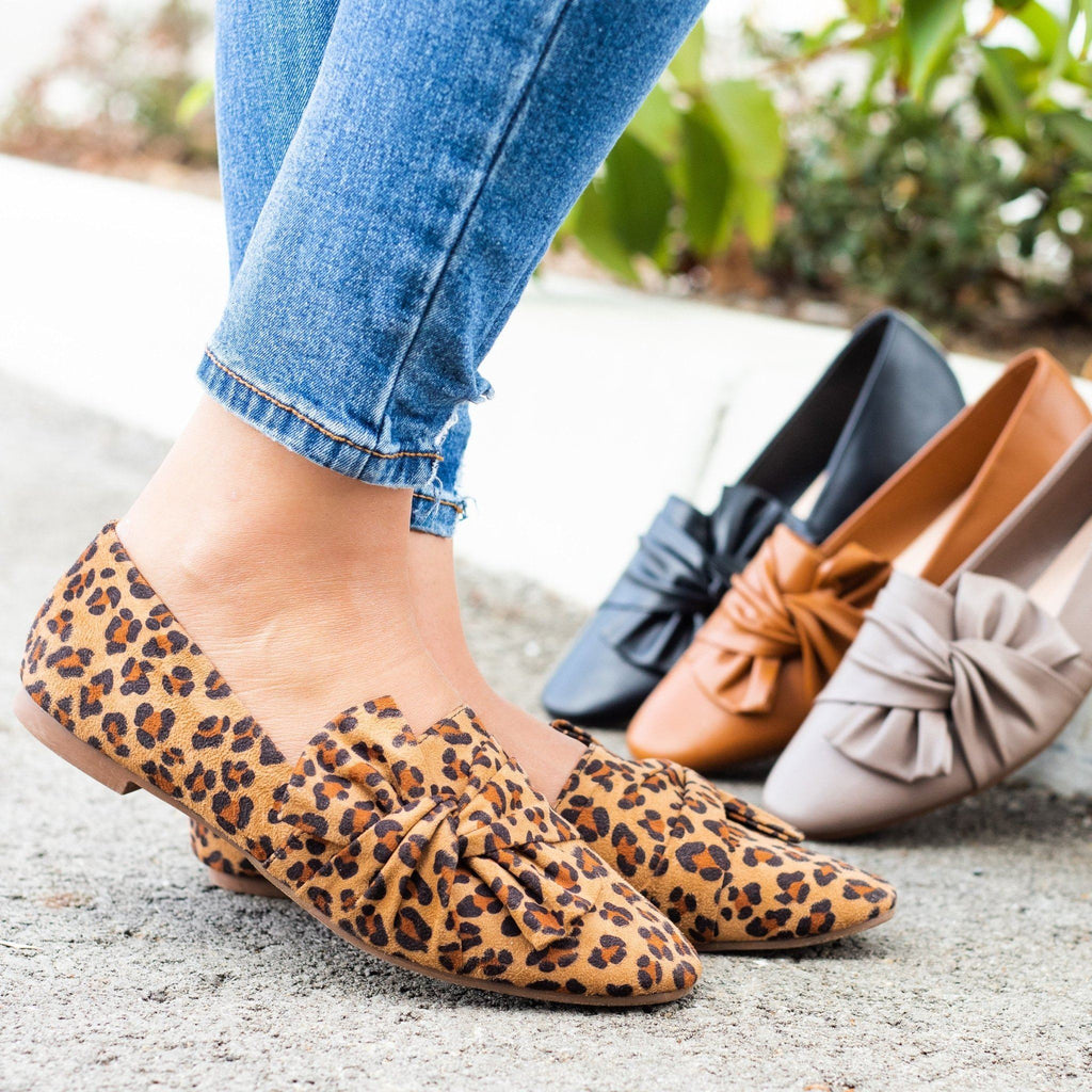 Womens Chic Knotted Flats - Weeboo - Leopard / 5