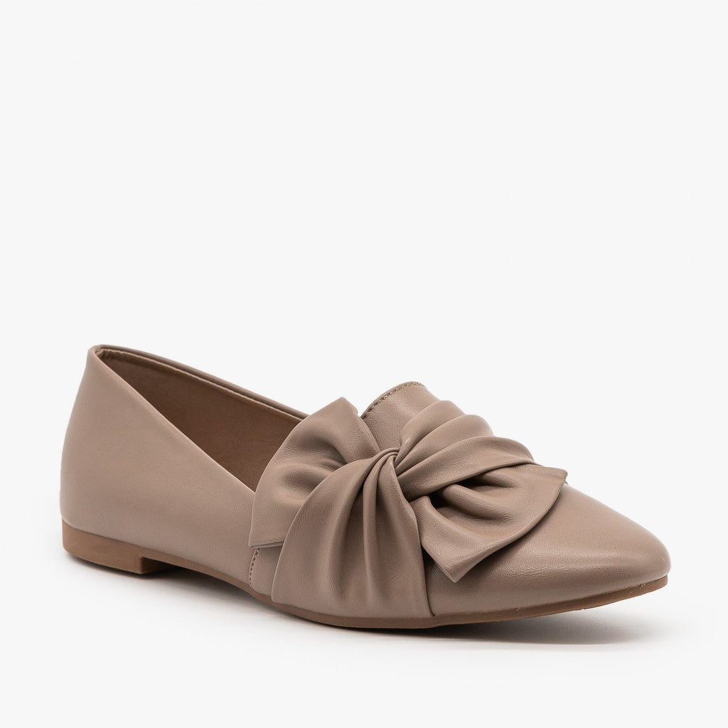 Womens Chic Knotted Flats - Weeboo - Taupe / 5