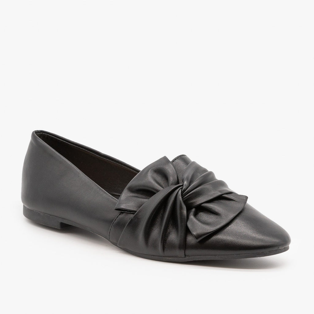 Womens Chic Knotted Flats - Weeboo - Black / 5