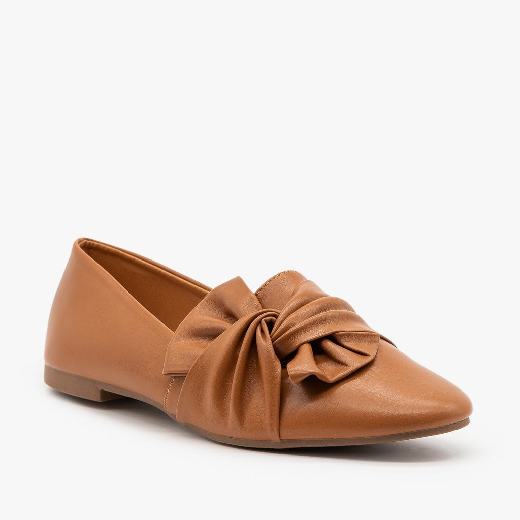 Womens Chic Knotted Flats - Weeboo - Tan / 5