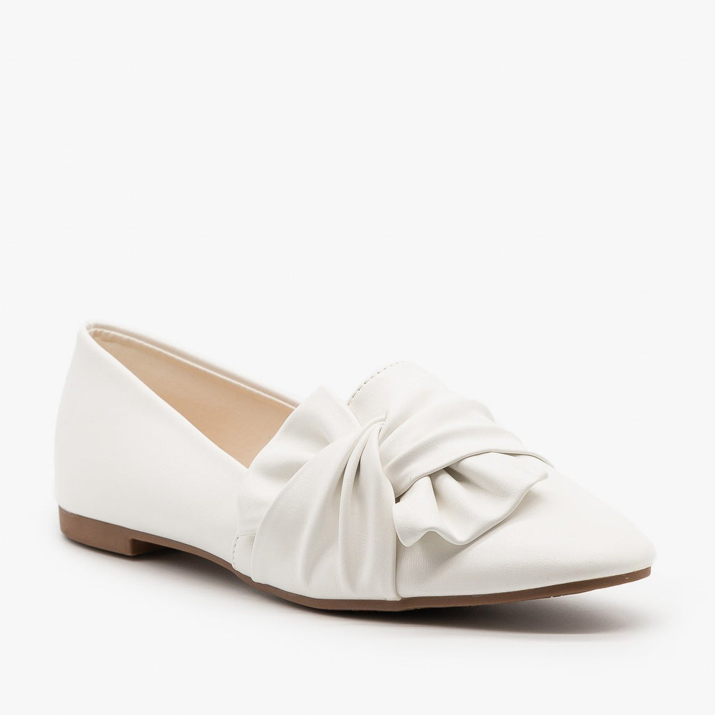 Womens Chic Knotted Flats - Weeboo - White / 5
