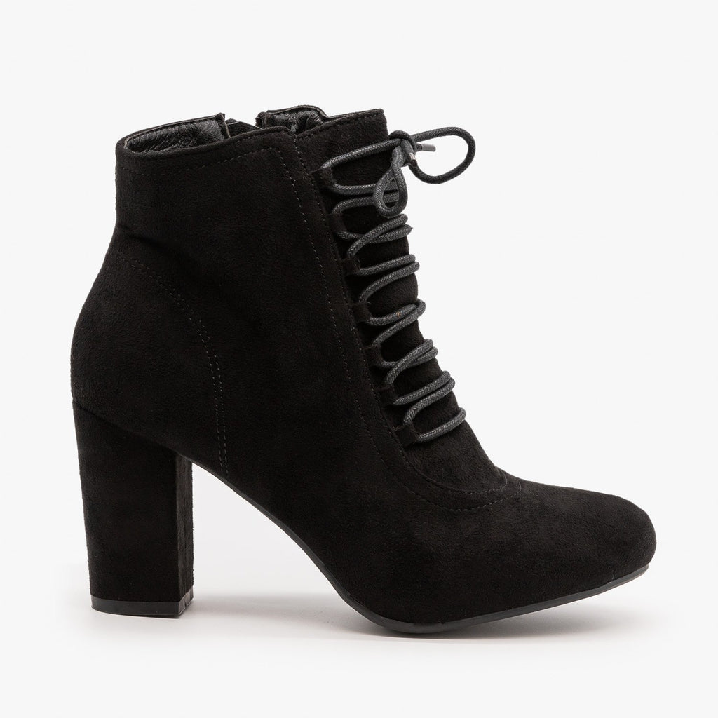 Womens Chic Lace Up Booties - Nature Breeze - Black / 5