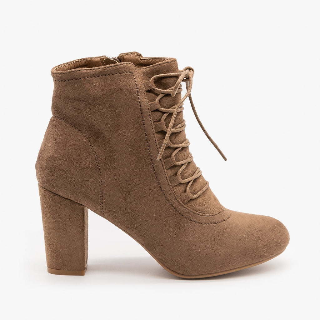 Womens Chic Lace Up Booties - Nature Breeze - Taupe / 5