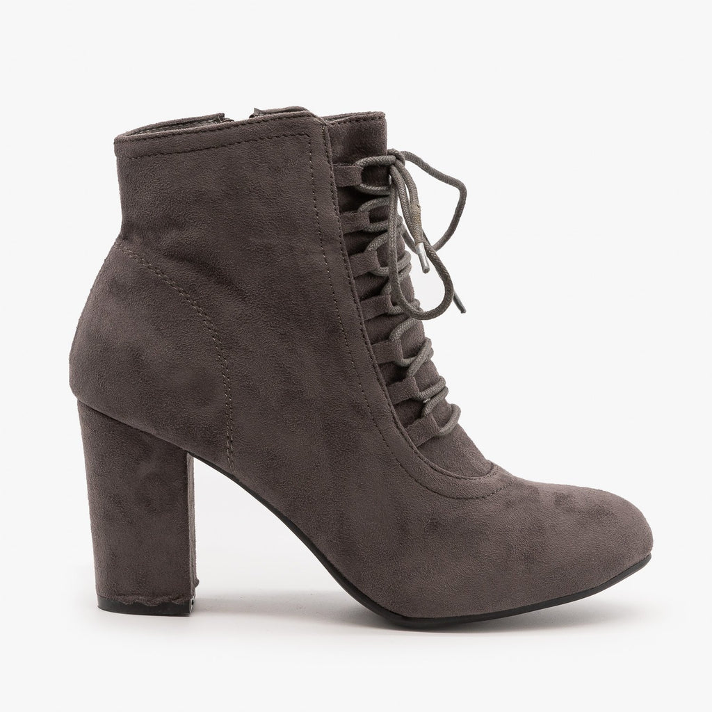 Womens Chic Lace Up Booties - Nature Breeze - Gray / 5