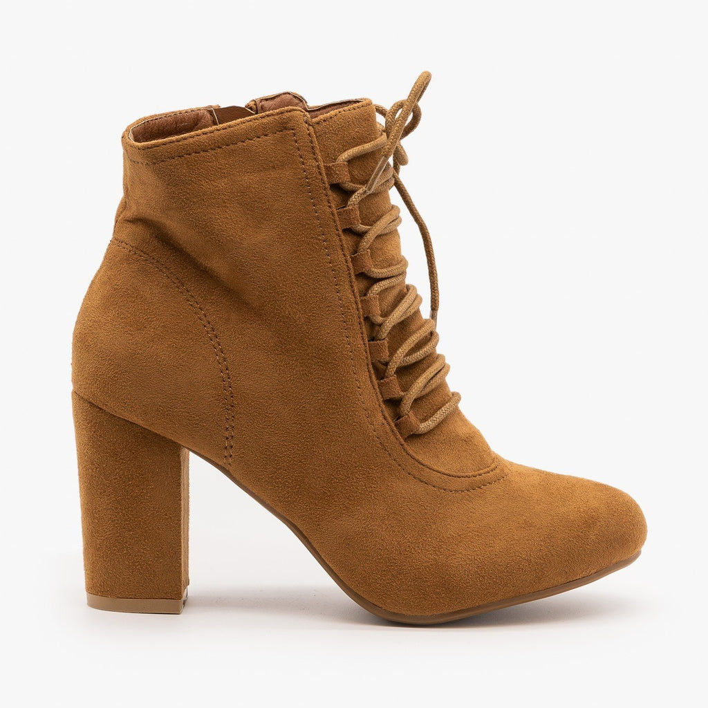 Womens Chic Lace Up Booties - Nature Breeze - Camel / 5