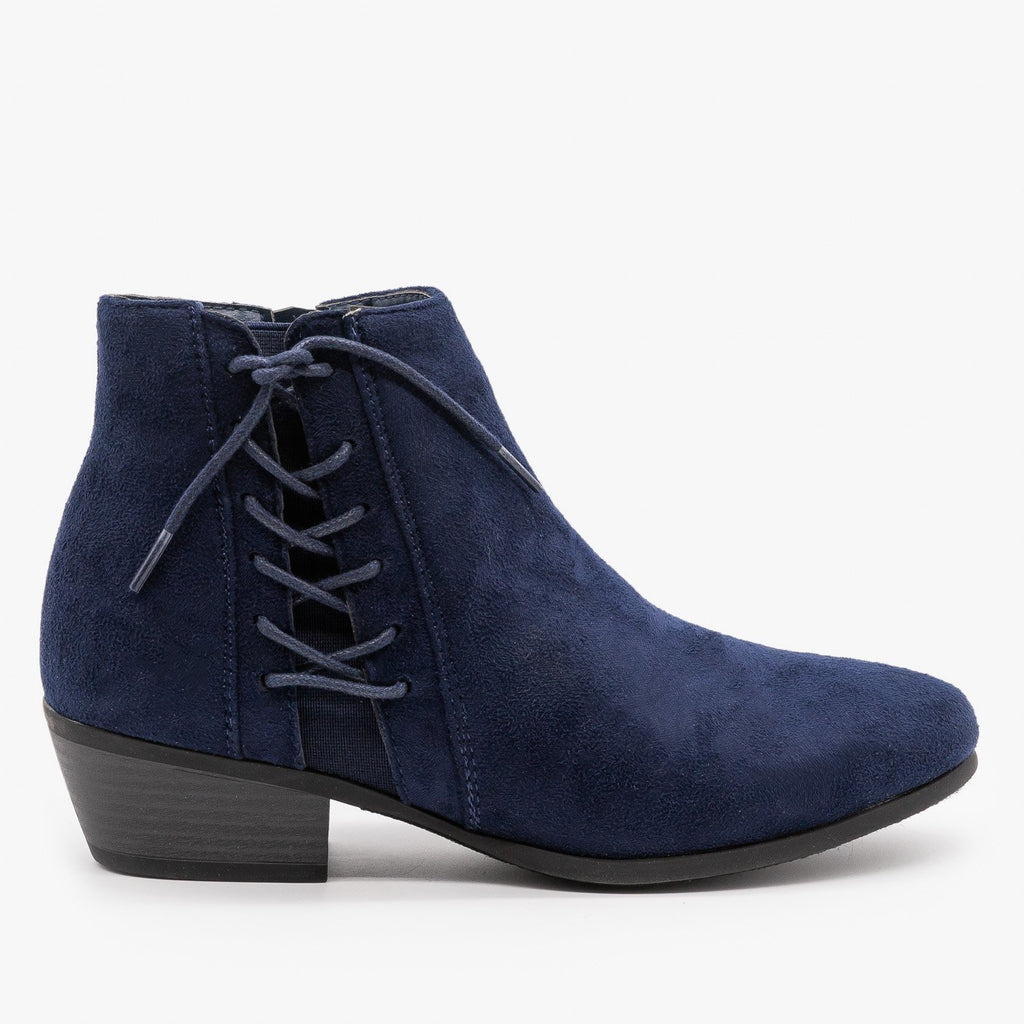 Womens Chic Lace-Up Fall Booties - Refresh - Navy / 5