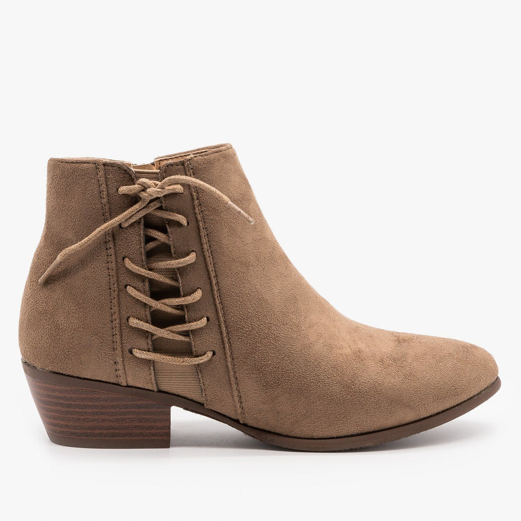 Womens Chic Lace-Up Fall Booties - Refresh - Mocha / 5