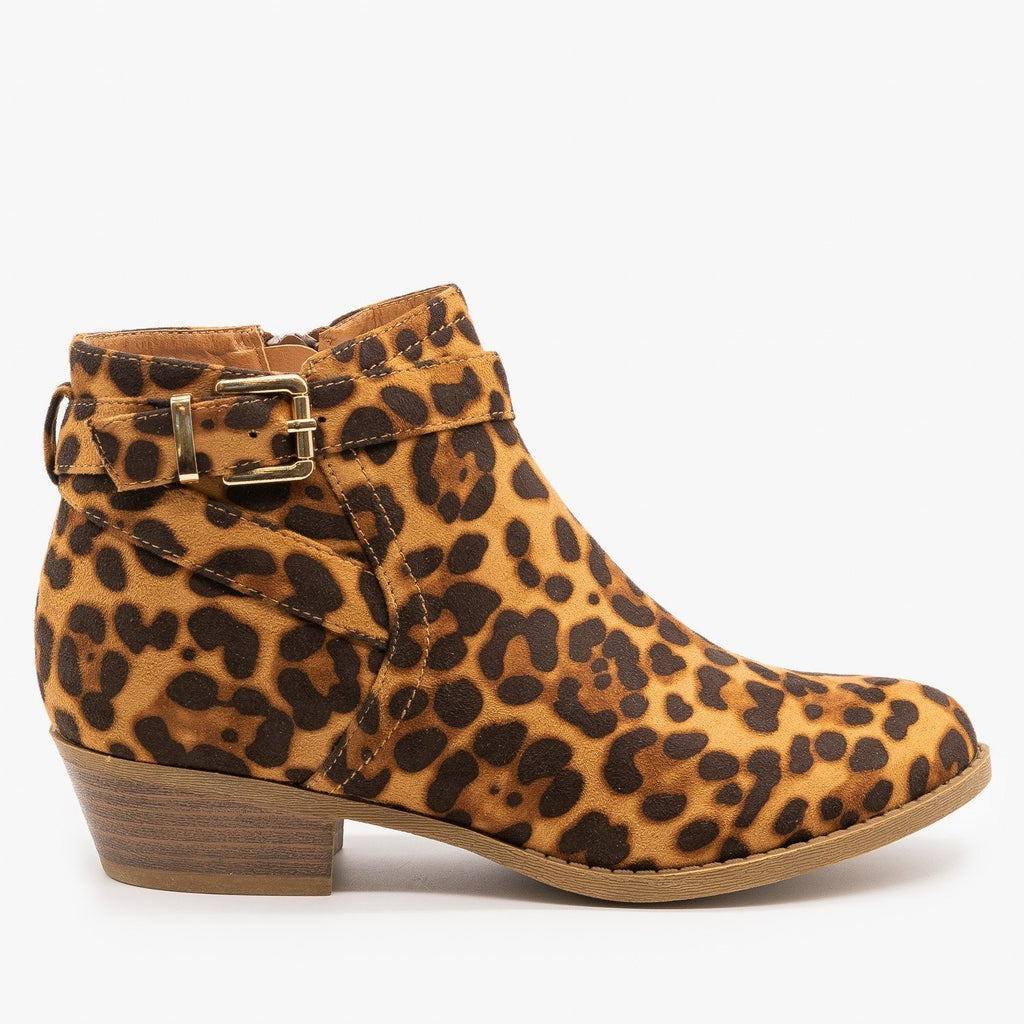 Womens Chic Leopard Print Ankle Booties - Soho Elite - Leopard / 5