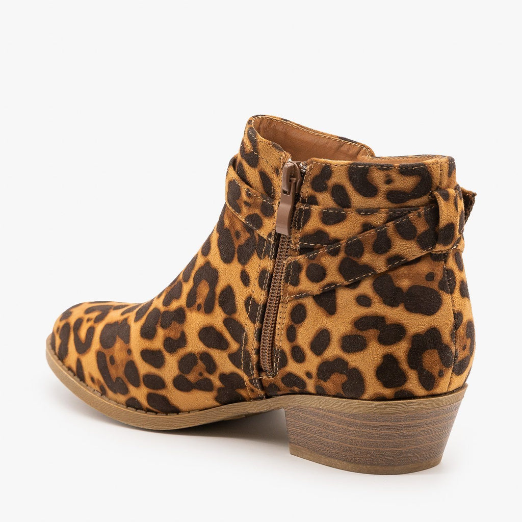 Womens Chic Leopard Print Ankle Booties - Soho Elite