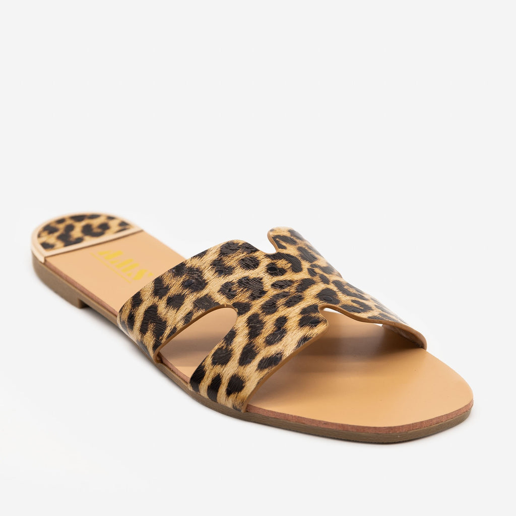 Women's Chic Leopard Print Sandals - AMS Shoes - Leopard / 5