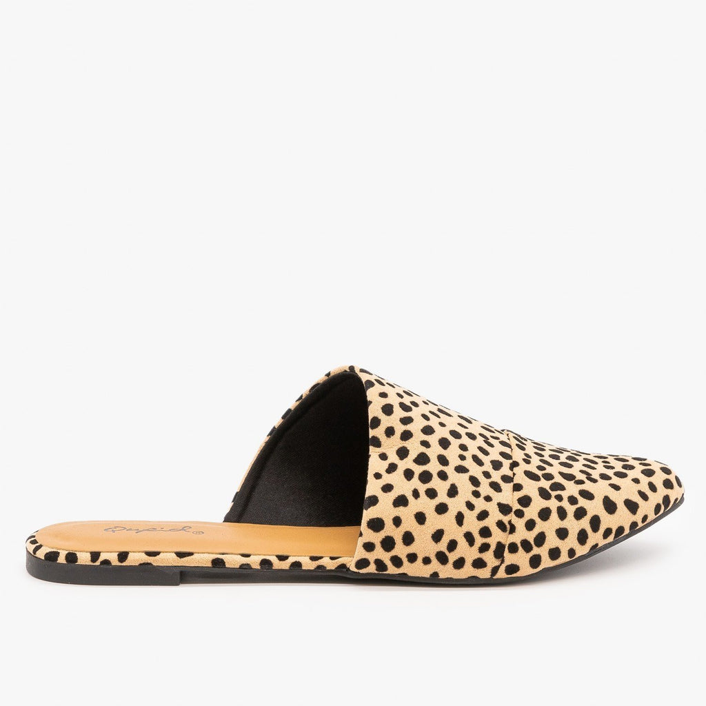 Womens Chic Leopard Print Wrapped Mules - Qupid Shoes - Tan Black Leopard / 5