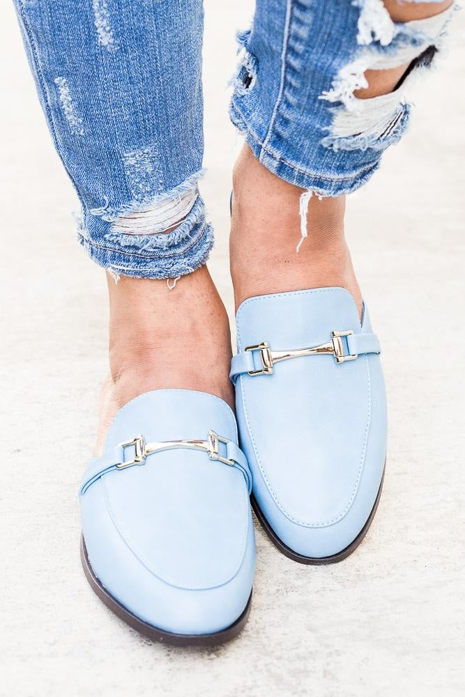 Womens Chic Loafer Flats - Breckelles - Blue / 5